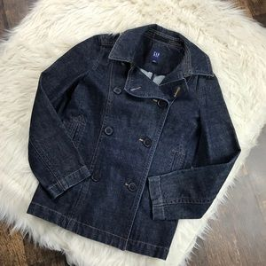 GAP Dark Wash Double Breasted Blue Denim Peacoat